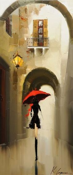 I LOVE this painting! Kal Gajoum This is my favorite artist. The pictures don't do the paintings justice! Art And Illustration, Art Amour, Umbrella Art, Umbrella Painting, Pics Art, Love Art, Painting Inspiration, Painting & Drawing, Painting Abstract