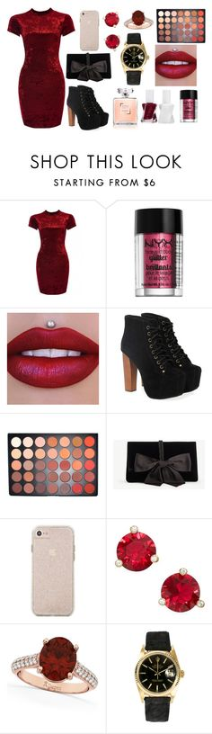 """""""Untitled #271"""" by ellesse2132x ❤ liked on Polyvore featuring Jeffrey Campbell, Morphe, Ann Taylor, Kate Spade, Allurez, Rolex and Essie"""