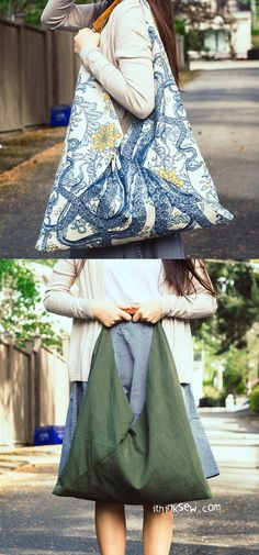 49 ideas origami bag pattern handbags for 2019 Kimono Sewing Pattern, Sewing Patterns, Origami Tote Bag, Mode Wax, Triangle Bag, Rubber Band Bracelet, Techniques Couture, Handbag Patterns, Love Sewing