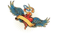 Heart with Wings Tattoo Designs   Flaming Heart Tattoo Design