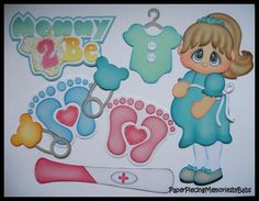 Premade Paper Pieced Mommy 2 Be Set for Scrapbook Pages-by Babs