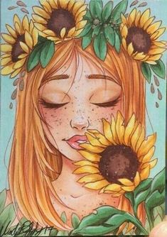 bleistiftzeichnung New Ideas For Flowers Drawing Sunflower Yellow - - Girl Drawing Sketches, Cool Art Drawings, Pencil Art Drawings, Drawing Drawing, Cute Drawings Of Girls, Drawing Girls, Girl Drawings, Drawing Ideas, Sunflower Drawing