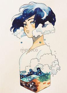 Moonlight and waves (art tools info: Character Art, Character Design, Character Concept, Character Illustration, Illustration Art, Creation Art, Wave Art, Pretty Art, Copics