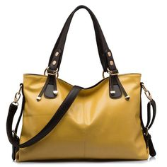BlueVega European style Oil wax Genuine Leather Cowhide Fashion Women handbags shoulder bags-brown: Amazon.co.uk: Shoes & Bags