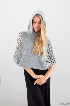Hooded Cape  mesh side panels and kangooroo pocket by celapiu, $79.00