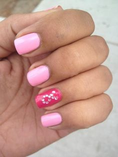 Breast Cancer nail art. I really like this one!!