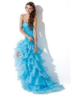 Prom Dresses - $190.99 - Mermaid Sweetheart Asymmetrical Organza Satin Prom Dress With Ruffle Beading  http://www.dressfirst.com/Mermaid-Sweetheart-Asymmetrical-Organza-Satin-Prom-Dress-With-Ruffle-Beading-018005086-g5086