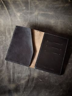 """Bas and Lokes Handmade Leather Goods - """"Voyager"""" Black Handmade Leather Passport Wallet, $120.00 (http://www.basandlokes.com/voyager-black-handmade-leather-passport-wallet/)"""