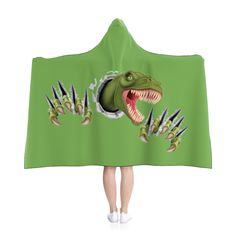 T-Rex Breakout Hooded Blanket - Green. by MbiziHome on Etsy Pet Urine, Hooded Blanket, T Rex, Favorite Color, Blankets, Hoods, Trending Outfits, Green, Handmade