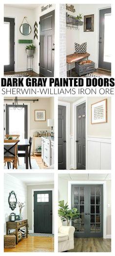 The Power of Paint: Dark Painted Interior French Doors, Home Decor, The Power of Paint: Dark Painted Interior Doors. Painted Interior Doors, Painted Doors, Interior Barn Doors, Exterior Doors, Interior Painting, Wood Doors, Rustic Exterior, Exterior Paint, Grey Interior Paint