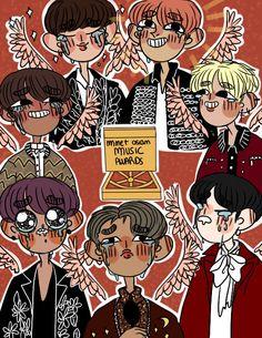 BTS fanart MAMA 2016 cr: ask-bts-stuff