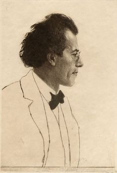 "Emil Orlik, ""Portrait of Gustave Mahler"", Etching with drypoint & aquatint, 1902. ""The Bohemian-Austrian composer and conductor, was in charge of the Vienna Opera. Josef Stransky related that while he was having a discussion with Mahler in a Prague café they were joined by Orlik. As was his custom Orlik immediately drew a sketch of the composer which delighted Mahler. This led to a formal sitting for the etching portrait. """
