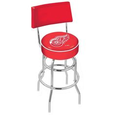 Chrome Detroit Red Wings Double-Rung Swivel Back Bar Stool