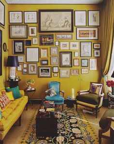 citrine moment - walls, sofa, accents. LOVE.