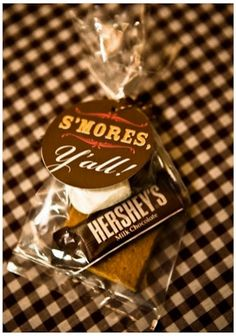 "Smores Party Favor. Camp theme with AC logo and ""thank you for celebraing this time of fellowship""?"