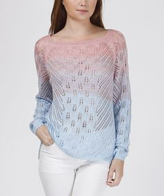 Love this Pink & Blue Ombré Knit Sweater by Trendology on #zulily! #zulilyfinds