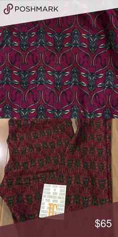 LuLaRoe TC MOSAIC DEER leggings Brand new with or without tag.  TC tall & curvy (fits most 12-22) mosaic deer heads leggings. Maroon background. Hard to find print! *I am NOT a LuLaRoe consultant. Just an addict who loves to hunt for great prints.* LuLaRoe Pants Leggings