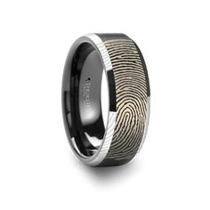 Thorsten Glacier White Ceramic Wedding Band with Beveled Edges and Polished Finish 8mm Wide from Roy Rose Jewelry