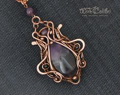 Amethyst stone pendant necklace, wire wrapped jewelry handmade, purple, copper necklace
