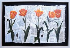 """'Tiptoeing Tulips' original collage and acrylics.  36"""" x 24"""" by Bertha Day, St Andrews, NB."""