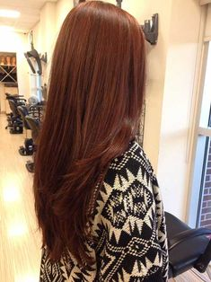 18 Hairstyles and Colors for Straight Long Hair: #2. Red Brown Straight Hair