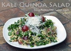 Kale Quinoa Salad (My Version of The Cheesecake Factory) In side-by-side taste tests, my Kale Quinoa Salad rated better than The Cheesecake Factory salad. blog.FoodsWithJudes.com
