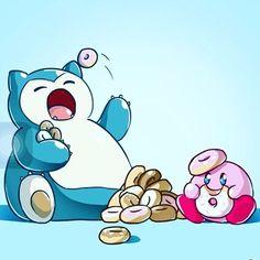 Snorlax and kirby #kirby #snorlax #doughnuts #nintendo #gamer #twith #pokemon #pokemongo #cute #anime