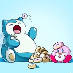 Snorlax and kirby #kirby #snorlax #doughnuts #nintendo #gamer #twith #pokemon #pokemongo #cute #anime