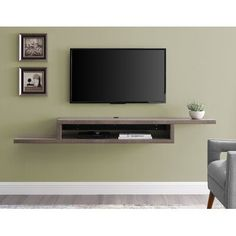 Orren Ellis Mauck Floating TV Stand for TVs up to Color: Light Brown Shelves Under Tv, Tv Wall Shelves, Floating Shelf Under Tv, Floating Tv Stand, Floating Wall, Open Shelves, Wall Mount Tv Shelf, Wall Mounted Tv Console, Hanging Tv