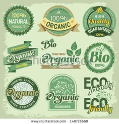 Set of organic, eco and bio labels and elements
