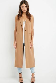 Forever 21's long camel vest can be dressed up or down