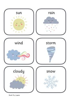 Weather Flashcards An portrait PDF page showing 6 different weather pictures; sun, wind, storm, cloudy, cold and rain. Look out for the other weather resources Early Years (EYFS) and Primary School Printable learning resources for the classroom and home. Weather Activities Preschool, Preschool Learning Activities, Kindergarten Worksheets, Preschool Activities, Preschool Weather Chart, Preschool Charts, Weather Worksheets, Preschool Letters, Preschool Printables
