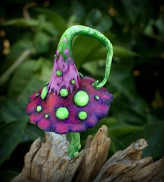 Purple pink fuchsia green amanita fairy garden fantasy mushroom  ,polymer clay toadstool Home decor,Fairy Garden