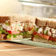 Need a brown-bag lunch idea that you can feel good about? Try these flavorful chicken salad sandwiches that use canned chicken, low-fat mayonnaise and soft oatmeal bread to make simply delicious sandwiches.