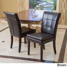 Jackie Brown Leather Accent Dining Chair by Christopher Knight ...