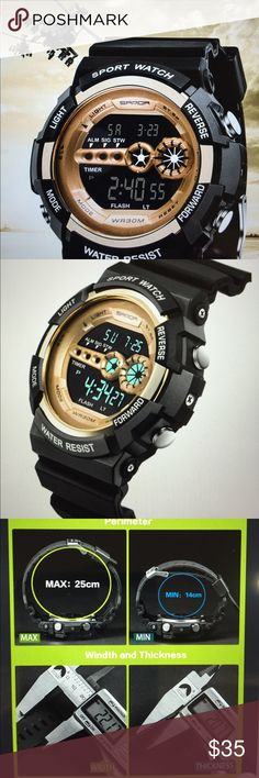 Multifunction Men's Sport Digital Watch/New This great sport watch comes with the following functions: Stop watch, Alarm, Black light, Week and daily calendar, water resistant and it comes in a gift box Digital Accessories Watches