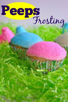 Feb 2016 - These cupcakes are topped with an easy to make Peeps inspired marshmallow frosting and bright colored sugar sprinkles. Enjoy your favorite Easter candy on top of a cupcake! Peeps just seem to scream out EASTER Easter Candy, Hoppy Easter, Easter Treats, Easter Food, Easter Stuff, Frosting Recipes, Cupcake Recipes, Cupcake Cakes, Cupcake Frosting