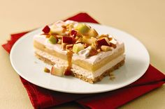 From the crushed cookie crust to the sweetened cream cheese, pudding and caramel-topped apples, each layer of this dessert holds its own.