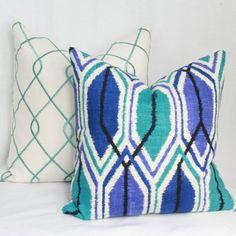 Blue teal purple decorative pillow cover.18 x 18 by JoyWorkshoppe