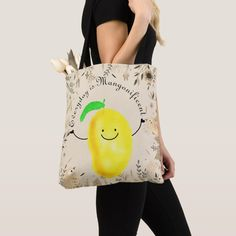 Positive Mango Pun - Everyday is Mangonificent Tote Bag - good gifts special unique customize style Garden Puns, Organic Gardening, Slogan, Best Gifts, Reusable Tote Bags, Positivity, Messages, Mango, Manga