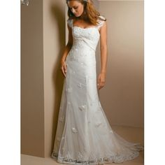 Empire Waist Strapless Embroidered Satin Tulle Sheath Wedding Dresses