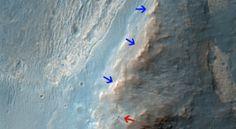 NASA Mars Orbiter views Opportunity Rover on ridge