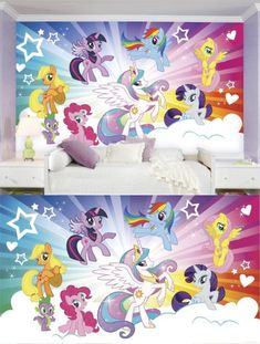 Other Nursery Wall D cor 20430: Ultra Strippable My Little Pony Cloud Xl Chair Rail Prepasted Mural, 6 X 10.5 -> BUY IT NOW ONLY: $286 on eBay!