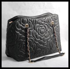 Black Lotus Flower Embossed Handbag