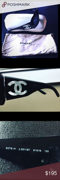 Chanel Mother of Pearl Sunglasses Black Chanel Black sunglasses, Mother of Pearl CC logo on sides. Model 5076-H as seen on numerous celebs. Made in Italy. Few minor scratches on frame and lens does not affect visibility of lenses. 100% authentic. Included with the glasses are a Chanel carrying bag/cloth to protect the glasses, pearl white case. Classy and stylish! Please contact me with any questions, or if you need more pictures. CHANEL Accessories Sunglasses
