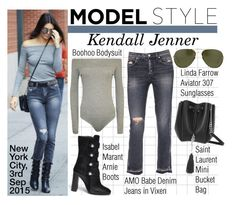 """""""Model Style- Kendall Jenner"""" by jumping-through-hoops ❤ liked on Polyvore featuring Isabel Marant, Yves Saint Laurent, Linda Farrow and AMO"""
