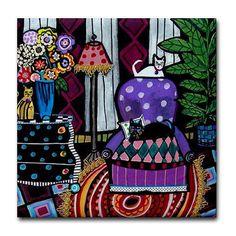 Ceramic Tile Coasters - Cat Folk Art Print on Ceramic Tile Folk Art Colorful Crazy Quilt Purple Red Orange Rug Lamp Black and White. $20.00, via Etsy.