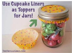 Cupcake liners used as jar toppers. Good idea for those small gifts.