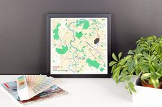 Framed Map Poster of Rome Italy - Subtle Colorful