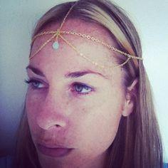 Gold Chain Headband Headpiece with Aqua briolette glass bead. $16.25, via Etsy.